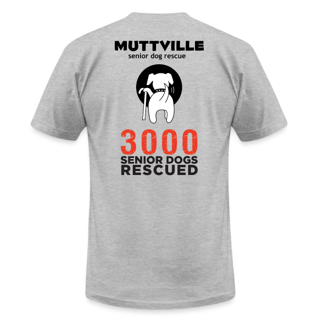 """I love my Muttville senior dog"" men's tee (black text)"
