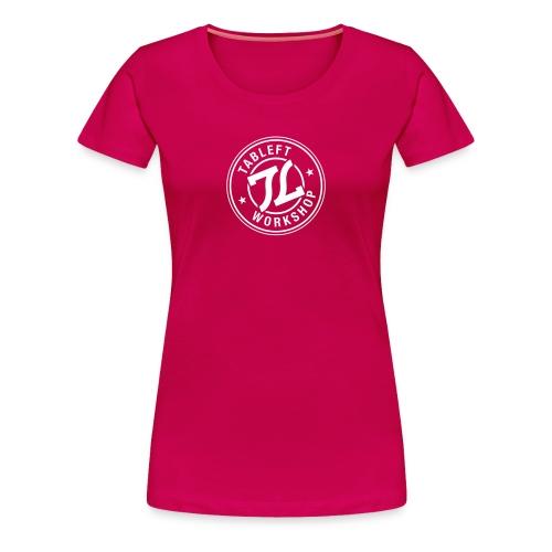 Womens white stamp logo with back small upper back logo  - Women's Premium T-Shirt