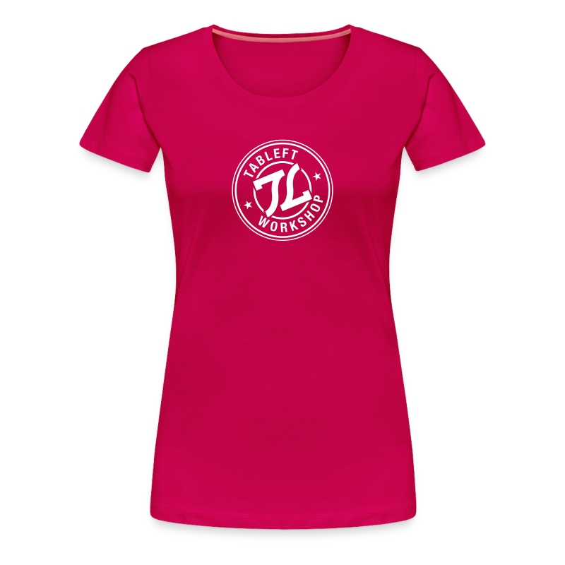 Womens white stamp logo with back small upper back logo  - Women's Premium T-Shirt