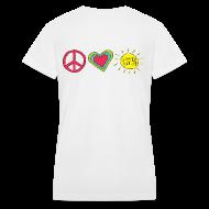 Women's T-Shirts ~ Women's V-Neck T-Shirt ~ Double Sided Happy Last Day / Peace Love Summer Break | V-Neck Teacher Shirt