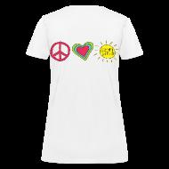 Women's T-Shirts ~ Women's T-Shirt ~ Double Sided Happy Last Day / Peace Love Summer Break | Teacher Shirt
