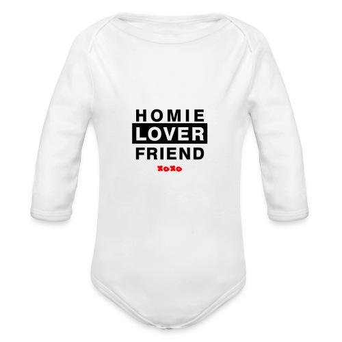 Baby Homie Lover Friend  - Organic Long Sleeve Baby Bodysuit
