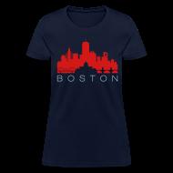 T-Shirts ~ Women's T-Shirt ~ Boston Skyline Navy Red Women's T-shirt
