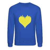 Long Sleeve Shirts ~ Crewneck Sweatshirt ~ Boston Love Blue/Yellow Crewneck Sweatshirt