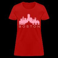 T-Shirts ~ Women's T-Shirt ~ Boston Skyline Red Women's T-shirt