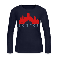 Long Sleeve Shirts ~ Women's Long Sleeve Jersey T-Shirt ~ Boston Skyline Navy Red Women's Long Sleeve Jersey T-shirt