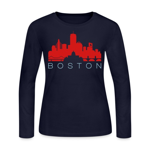 Boston Skyline Navy Red Women's Long Sleeve Jersey T-shirt - Women's Long Sleeve Jersey T-Shirt