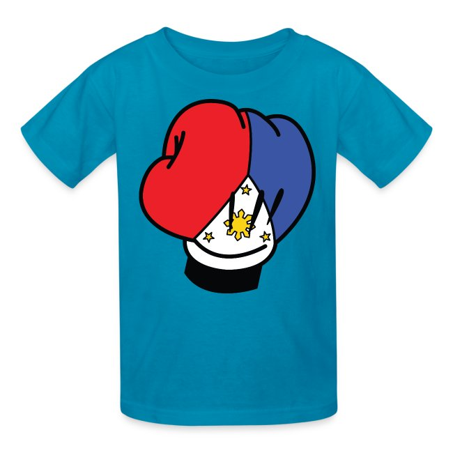 MP Mickey Pacquiao Filipino Flag Boxing Glove Kids Tee Shirt by AiReal Apparel