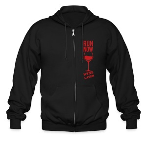 run now wine later | Mens zipper hoodie - Men's Zip Hoodie