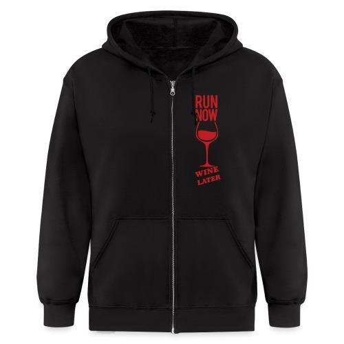 run now wine later | Mens zipper hoodie - Men's Zip Hoodie