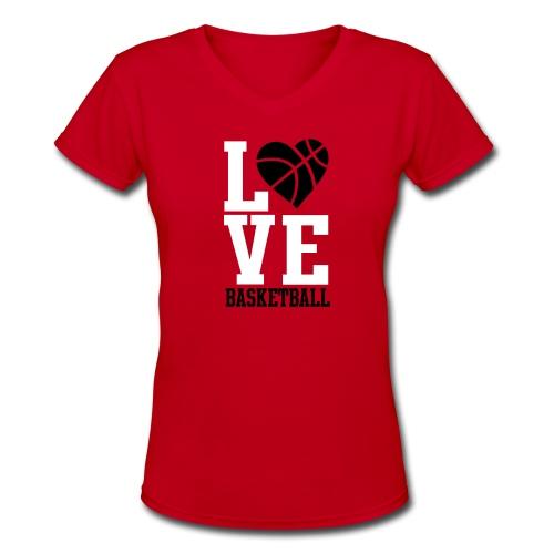 Love Basketball Women's V-Neck T-Shirt - Women's V-Neck T-Shirt