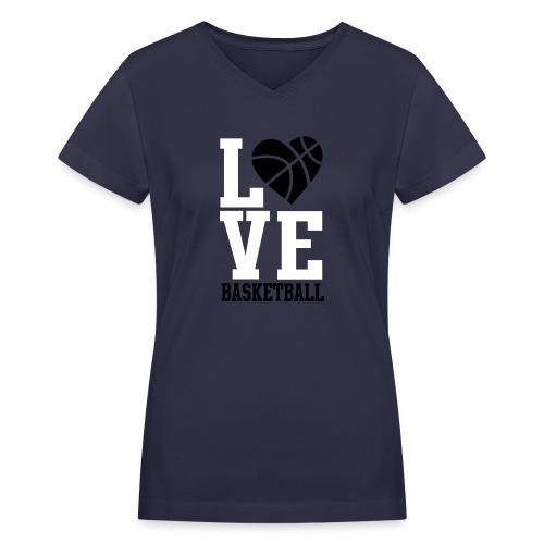 Women's V-Neck T-Shirt - Love Basketball,I Love Basketball,Beautiful Ballers,Beautiful Baller