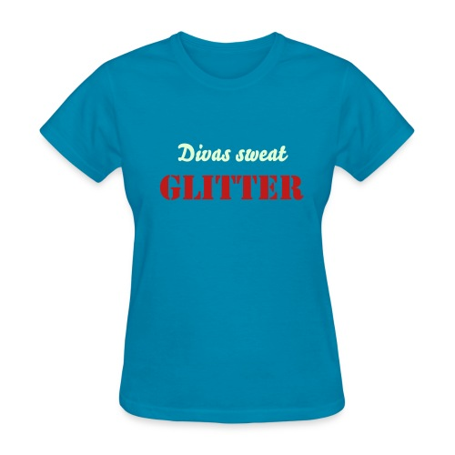 Divas Sweat Glitter (Red) - Women's T-Shirt