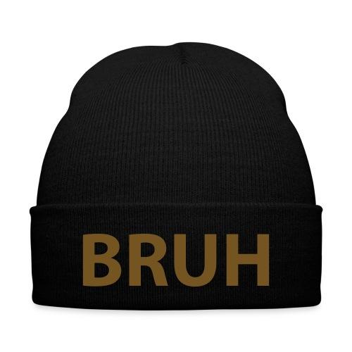 Bruh Hat - Knit Cap with Cuff Print
