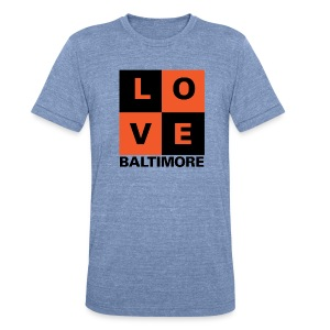 Baltimore Love 2-color Men's Light Blue - Unisex Tri-Blend T-Shirt by American Apparel