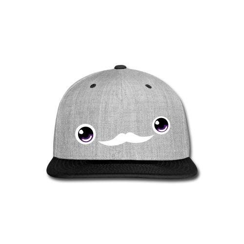 Cute Moustache Face Cap (Purple/Orange) - Snap-back Baseball Cap