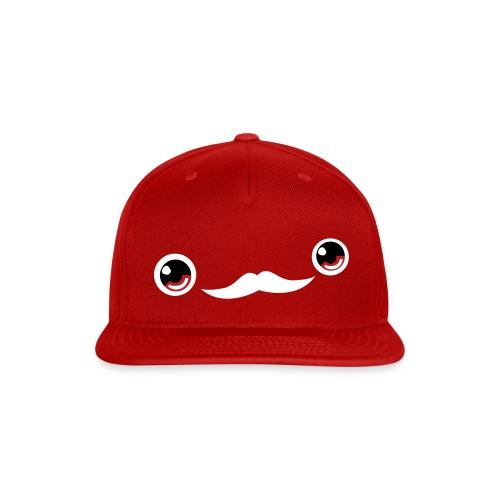 Cute Moustache Face Cap (Red) - Snap-back Baseball Cap
