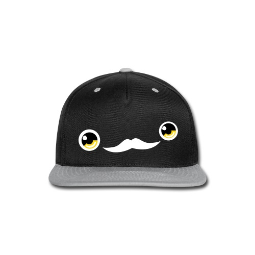 Cute Moustache Face Cap (Yellow/Black) - Snap-back Baseball Cap