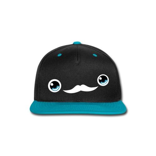 Cute Moustache Face Cap (Blue/Black) - Snap-back Baseball Cap