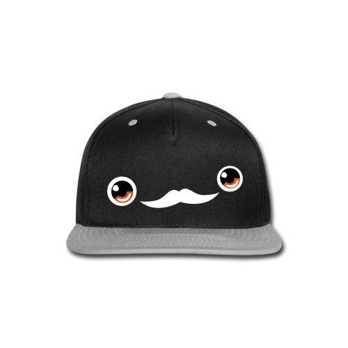 Cute Moustache Face Cap (Orange) - Snap-back Baseball Cap