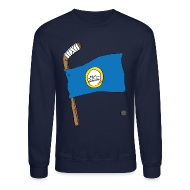 Long Sleeve Shirts ~ Men's Crewneck Sweatshirt ~ Boston Hockey Flag