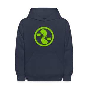 pedal power children's green on navy hoodie - Kids' Hoodie