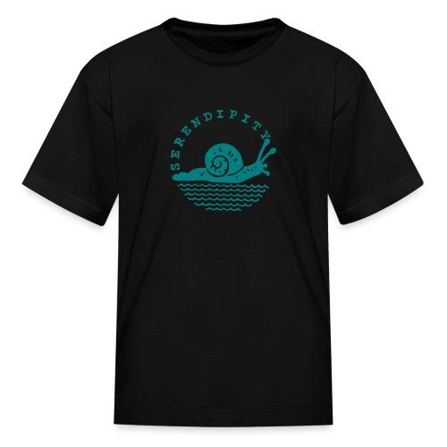 snail children's teal logo on black - Kids' T-Shirt