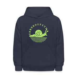 snail children's green on navy hoodie - Kids' Hoodie