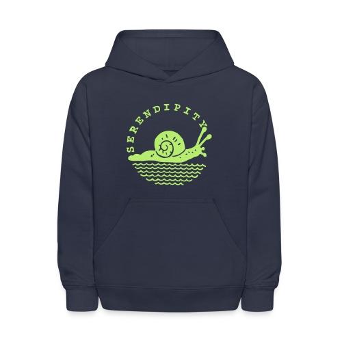 snail children's green on navy hoodie - Kids' Hoodie