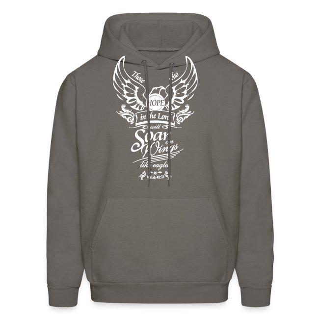 8917087c23e Soar on Wings Like Eagles Men s Hooded Sweatshirt - White Motif