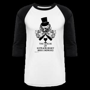 The League of Extraordinary Beer Drinkers Skull Top Hat Men's Baseball T-Shirt - Baseball T-Shirt