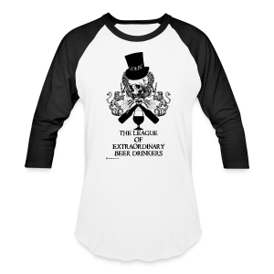 The League of Extraordinary Beer Drinkers Skull Top Hat Men's Baseball T-Shirt - Baseball T-Shirt