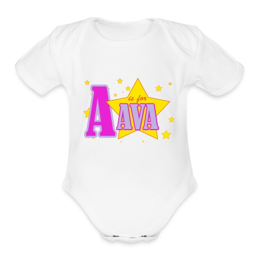 A is for Ava Body Suit /   - Short Sleeve Baby Bodysuit