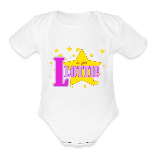 L is for Lottie - Organic Short Sleeve Baby Bodysuit