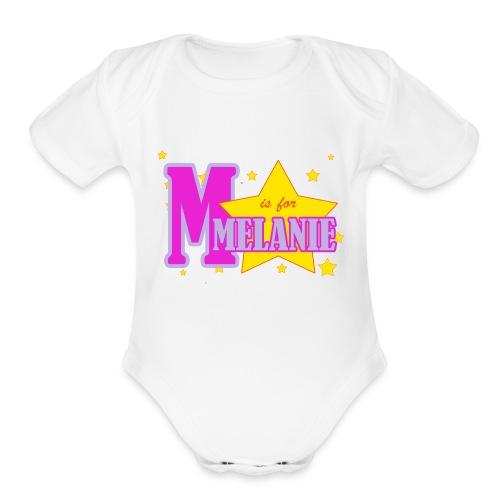 M is for Melanie - Organic Short Sleeve Baby Bodysuit