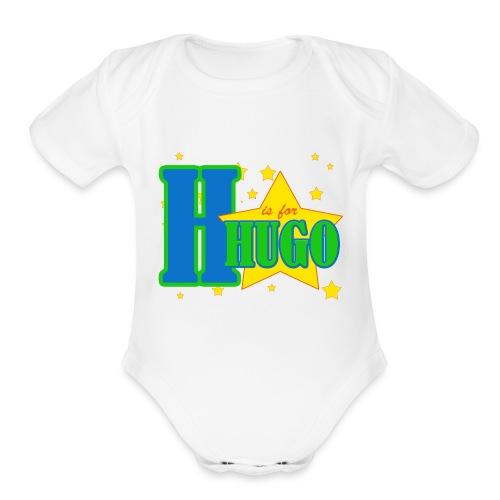 H is for Hugo named bodysuit - Organic Short Sleeve Baby Bodysuit