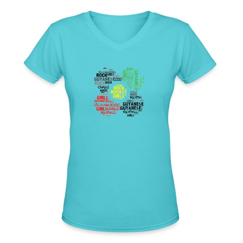 Guyanese Girls Rock T-Shirt - Women's V-Neck T-Shirt