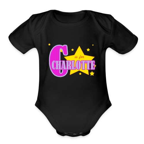 C is for Charlotte One Piece /Baby Grow /   - Organic Short Sleeve Baby Bodysuit