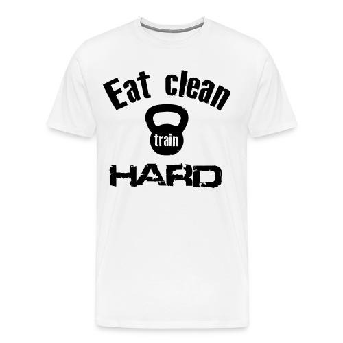 Classic T-Shirt - Eat Clean Train Hard Kettlebell - Black - Men's Premium T-Shirt