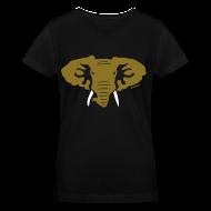Women's T-Shirts ~ Women's V-Neck T-Shirt ~ Hellaphant Metallic Gold