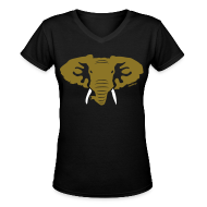 Women's T-Shirts ~ Women's V-Neck T-Shirt ~ Hellaphant Metallic Gold