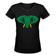 Women's T-Shirts ~ Women's V-Neck T-Shirt ~ Hellaphant Green