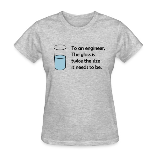 To an engineer, the glass is twice the size (F) - Women's T-Shirt