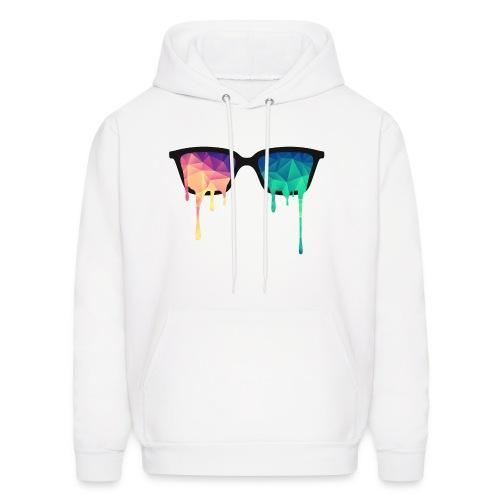 Mens Paint Spill Glasses Print Logo White Hoodie - Men's Hoodie