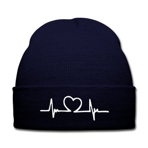 Heart Beat Hat - Knit Cap with Cuff Print