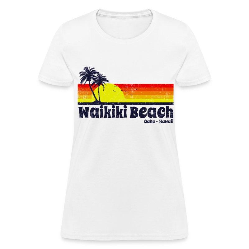 Waikiki beach hawaii t shirt spreadshirt for Hawaiian design t shirts