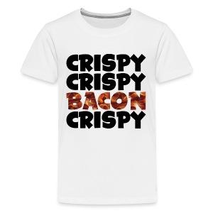 Kid's Crispy, Crispy, Bacon, Cripsy (Black) - Kids' Premium T-Shirt