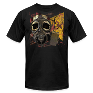 T-Shirts ~ Men's T-Shirt by American Apparel ~ Biohazard Skull Gas Mask on American Apparel  Mens T Shirt