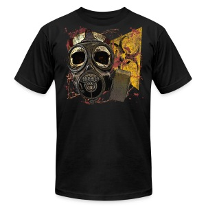 Biohazard Skull Gas Mask on American Apparel  Mens T Shirt - Men's T-Shirt by American Apparel