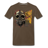 T-Shirts ~ Men's Premium T-Shirt ~ Biohazard Skull Gas Mask Mens Premium T Shirt
